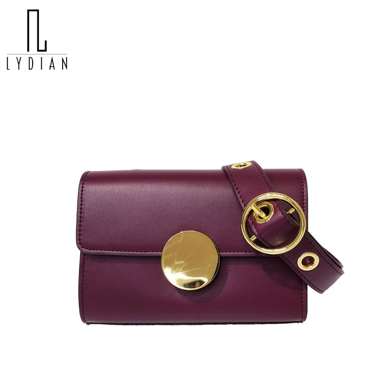 Lydian Rivet Handbags Woman Small Unique Clutch Bag Crossbody Wide Shoulder Strap Round Metal Buckle Small Bag 2018 New Flap Bag