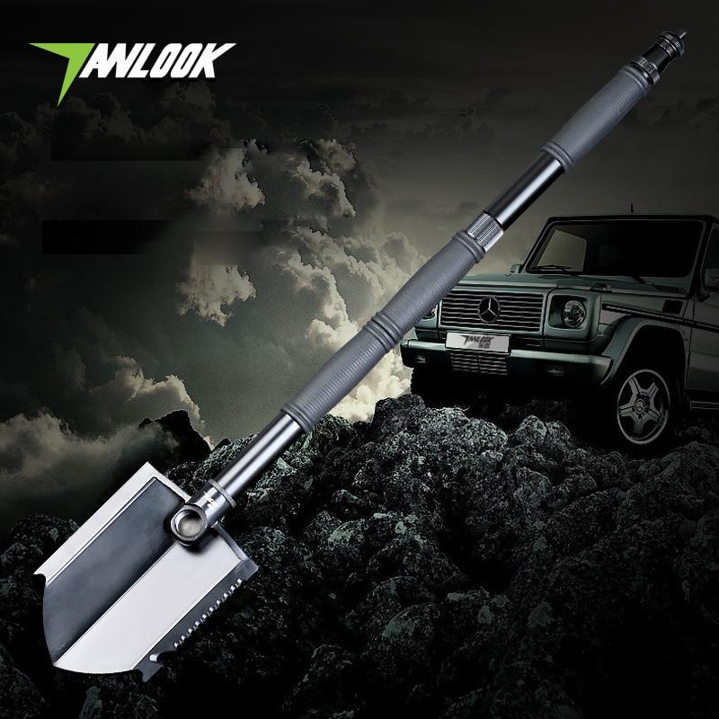 camping equipment Folding Shovel AXE Outdoor Multifunction Survival spade With lighting self-defense Tool snow shovel hunting