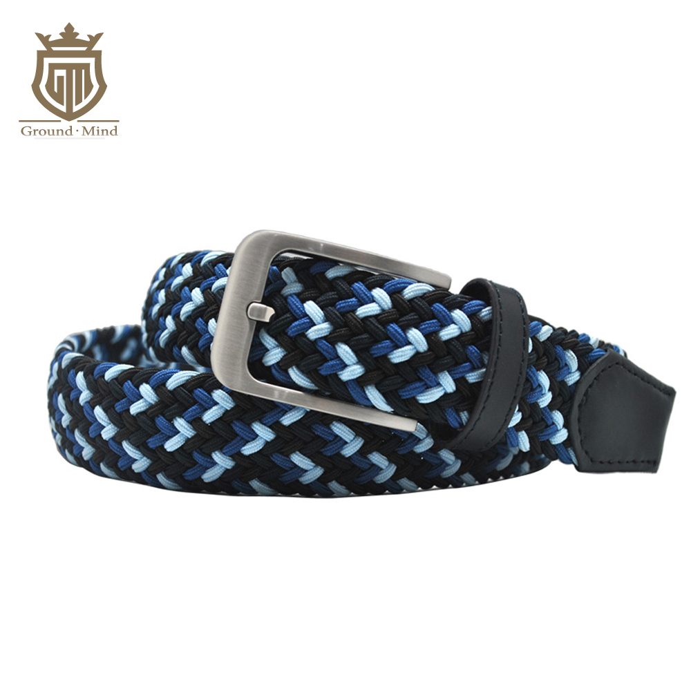 New elastic braided men belts fashion 3 colors woven genuine leather head&tip brushed metal pin buckle casual style (Blue)