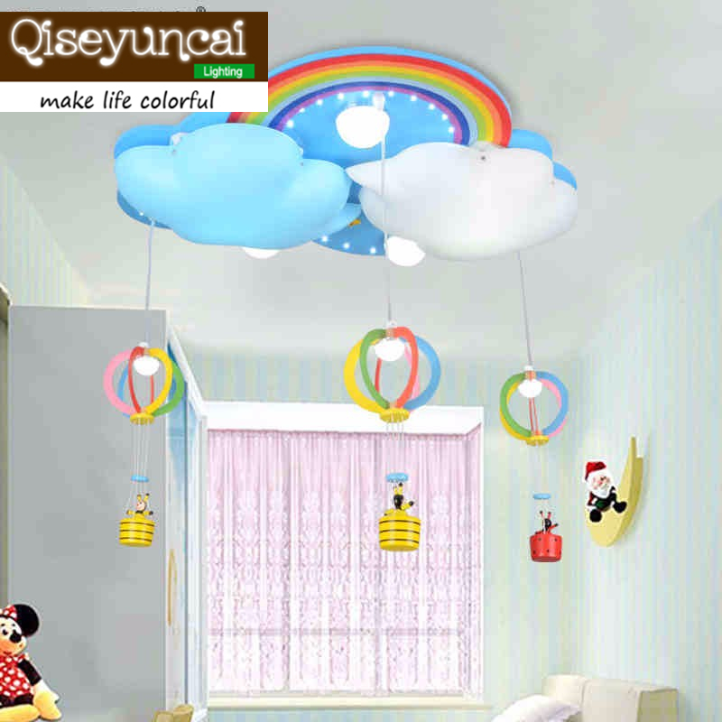 Qiseyuncai 2017 new Childrens bedroom Remote controlled LED ceiling lamp boy girl room cartoon creative warm lighting