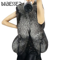 NIBESSER Autumn Winter Vest 2017 New Leather Thick Faux Fur Collar Belt Bow Waist Coat Gilet