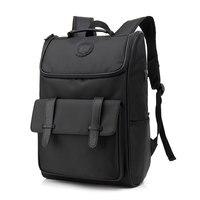 Pure Black Male Large Capacity Laptop Backpack Man USB Design Oxford Cloth Knapsack Waterproof Shoulders Bag