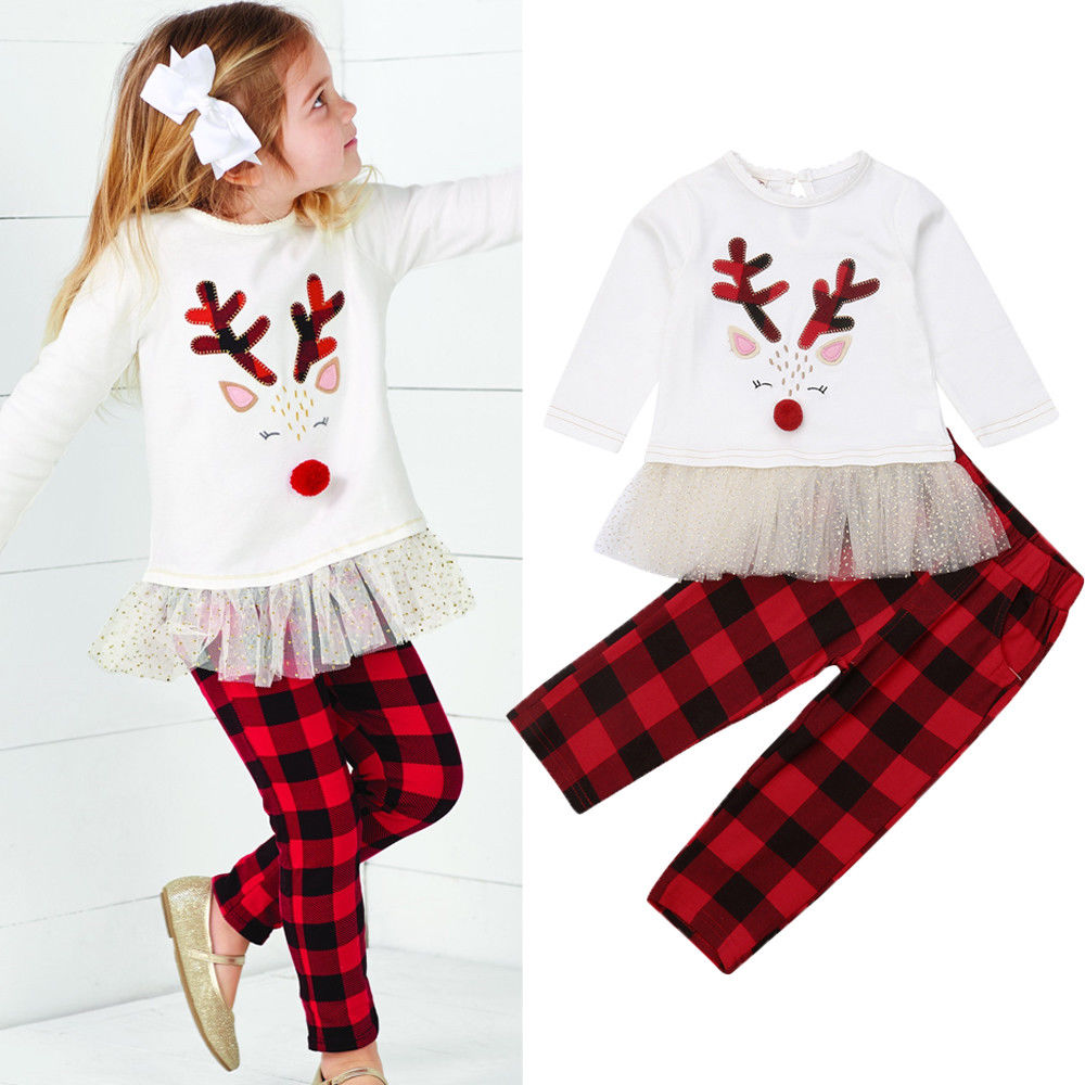 Pudcoco bebé princesa vestido navidad niños niña 2 unidades Set 2018 Deer Print Lace Dress + Plaid pantalones largos 1-6 t cabe
