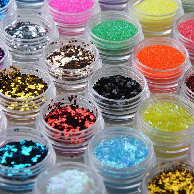 48Pcs Body Glitter Powder For Eye Body Art Decoration Mix Glitter Ultra Fine Nail Art Glitter Colorful Dust Powder Makeup 3