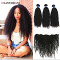 Peruvian Kinky Curly Virgin Hair 3 Bundles With Lace Frontal Closure Ear to Ear 7A Human Hair Peruvian kinky Curly With Frontal