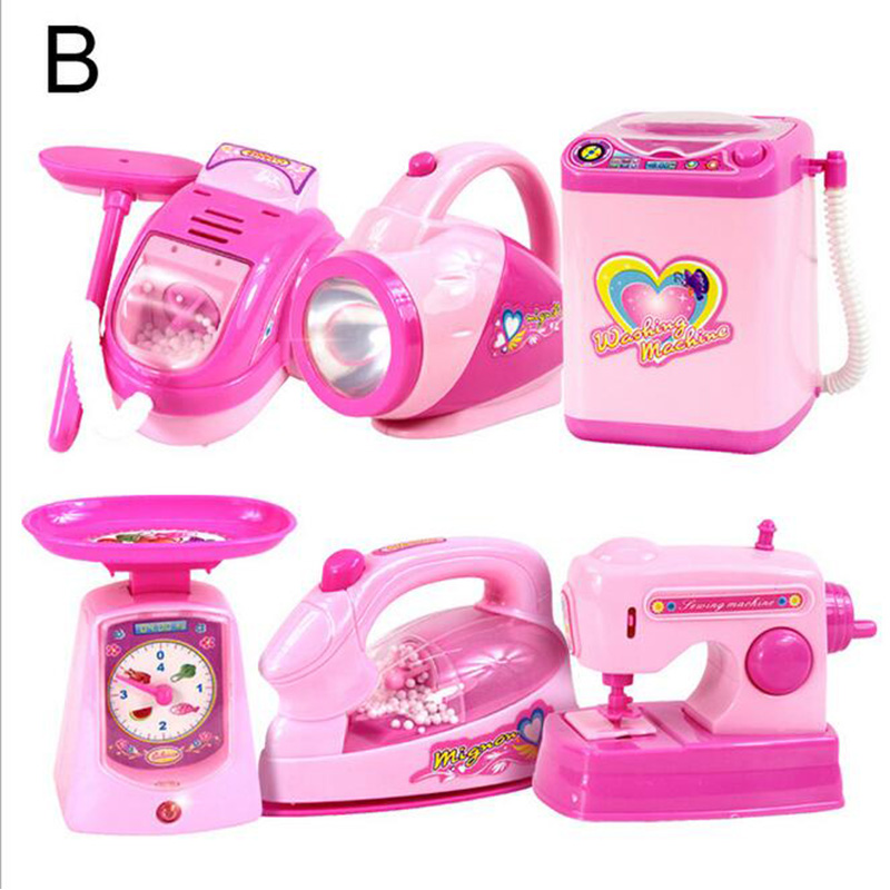 Toys & Hobbies Candid 6pcs/set Pink Pretend Play Household Appliance Kitchen Toys Gifts Flashlight Cleaner Scale Iron Washing Machine Sewing Machine