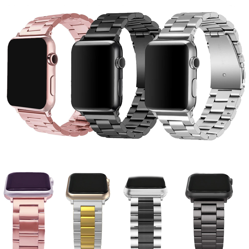 Stainless Steel Bands For Apple Watch Band IWatch Strap Metal Watch Band Rose Pink 38 40 42 44 Bracelet Clasp Series 4 3 2 1