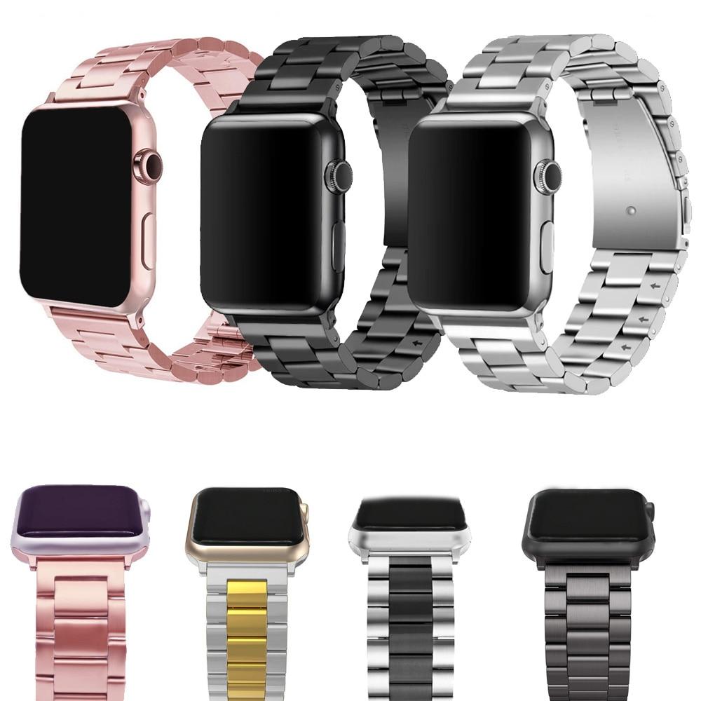 Купить Смотреть аксессуары | Stainless Steel bands for Apple Watch band  iWatch strap metal watch band rose pink 38 40 42 44 Bracelet Clasp series 4  3 2 1