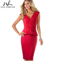 Nice Forever Vintage Sexy V Neck With Zipper Wear To Work Ruffle Vestidos Bodycon Office Business