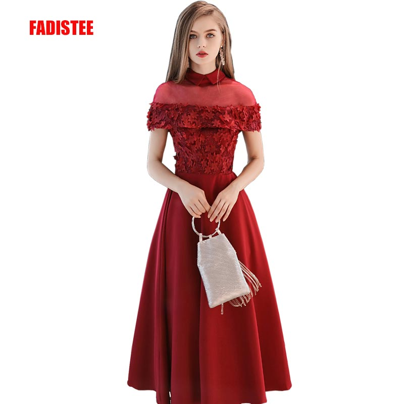 FADISTEE New arrival elegant party evening dresses Long prom formal dress lace high neck luxury 3D