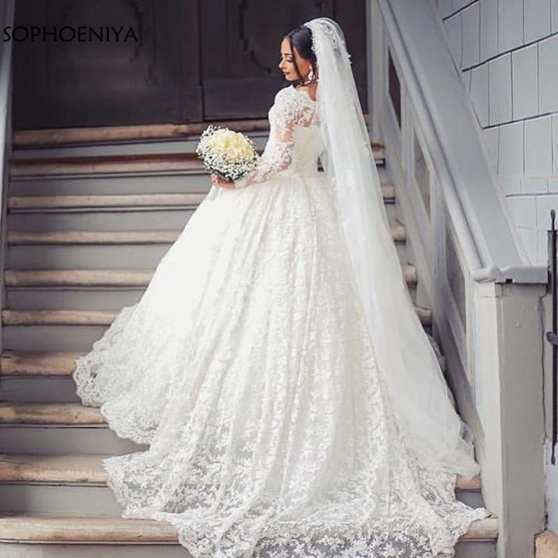 New Arrival White Luxury Wedding Dresses 2019 Lace Wedding Gown Abito Da Sposa Vestido Noiva Bride Dress Muslim Wedding Dress