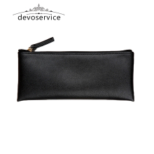 Black Business  Pencil Case For Boys Girls Casual PU Fashion Kids  Gift Pen Storage Cosmetic Bag 190*80*5MM Solid Handbag