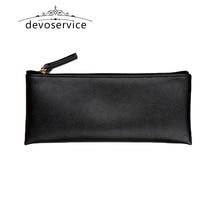 Black Business  Pencil Case For Boys Girls Casual PU Fashion Kids  Gift Pen Storage Cosmetic Bag 190*80*5MM Solid Handbag