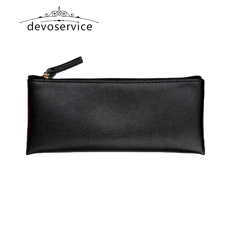 Free shipping Black Business  Pencil Case For Boys Girls Casual PU Fashion Kids Gift Pen Storage Cosmetic Bag Solid Handbag