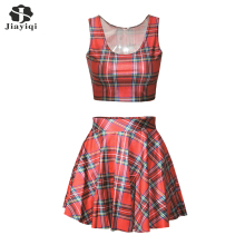Casual Women Suits Particular Cocktail Party Skirt Set Fashion Tartan Design Red Womens Skirt And Top 2 Piece Sets