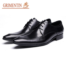 GRIMENTIN 2017 New Top Quality Leather Men Dress Shoes Genuine Leather Mens Shoes Luxury Men Business Shoes For Man Office Shoes