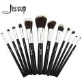 Jessup pro cosméticos maquillaje fundación eyeshadow brush madera colorete herramientas set 12 unids negro/plata