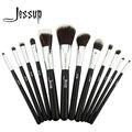 Jessup pro makeup cosméticos set fundação eyeshadow escova de madeira ferramentas blush set 12 pcs preto/prata