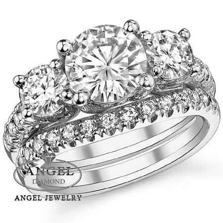 1 5 Carat Round Nocm Lab Grown Diamond Trellis 3 Stone Wedding Set Solid 9k White