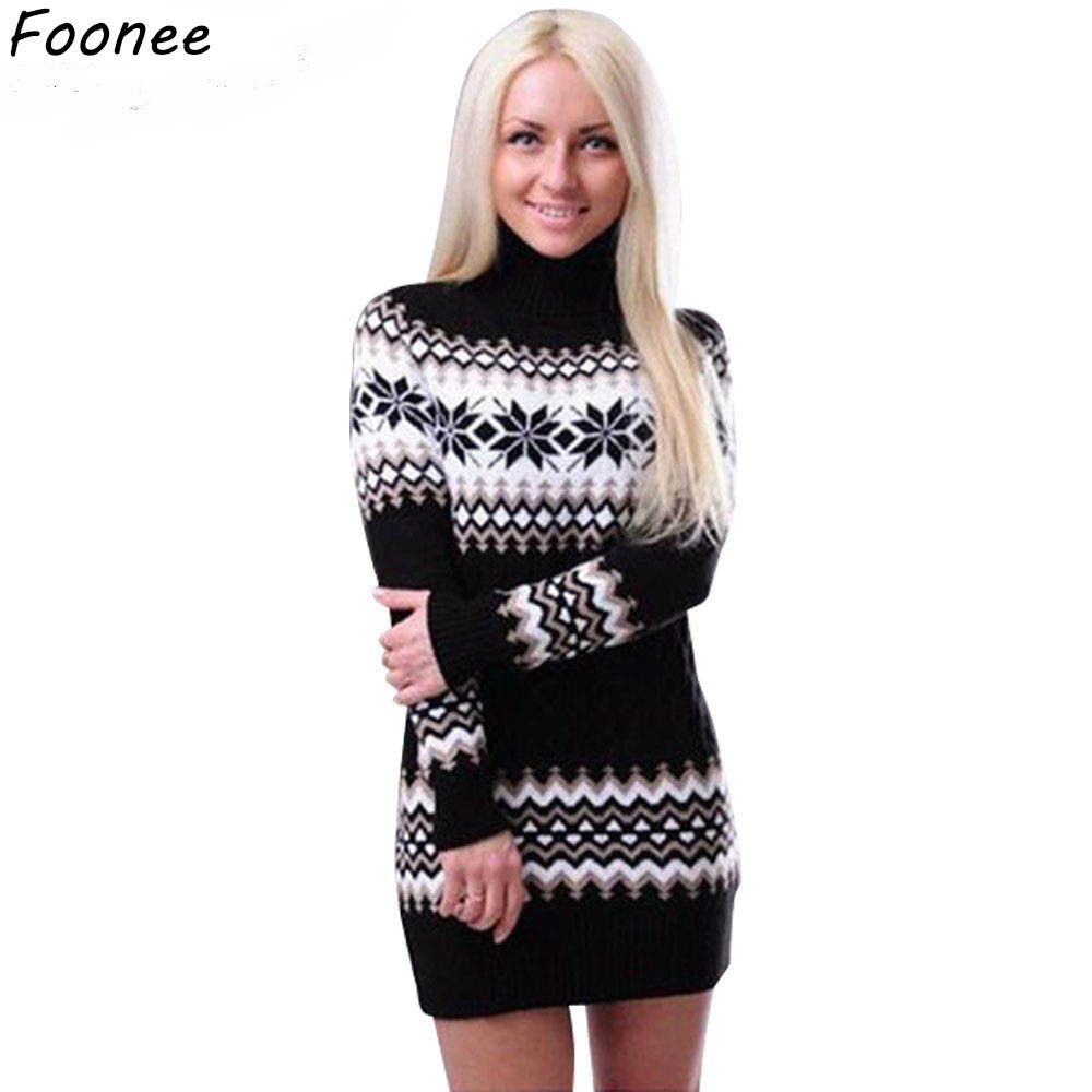 c9547a8bc0a Women Sweaters Pullovers Turtleneck Thick Long Sleeve Sweater Dress 2018  Winter Knitting Women s Sweet Warm Sweater Clothes