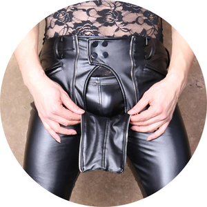 Image 4 - Fashion New Design Cool Men Elastic Faux PU Leather Pants Double Zipper Slim Long Trousers Black Male Streetwear Club Outfit