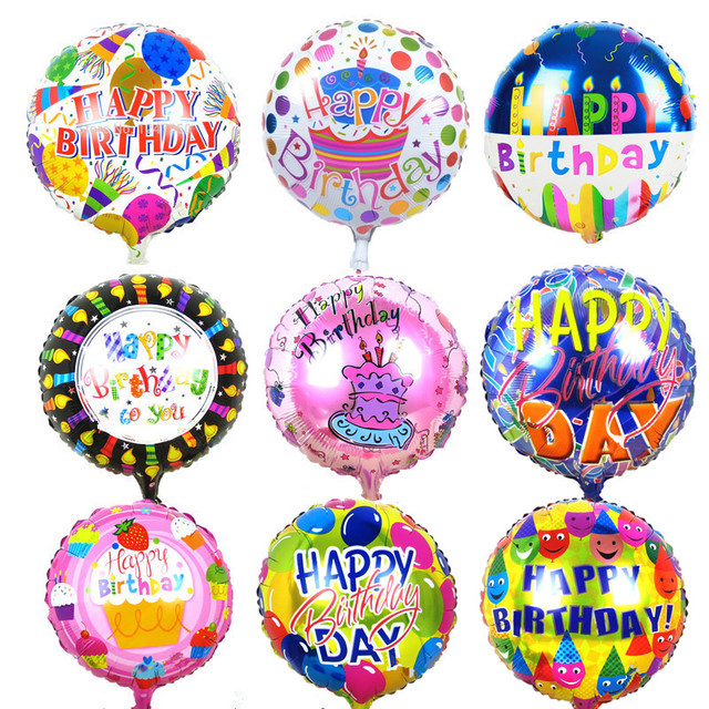 10pcs 18 inches Globos Happy Birthday Foil Balloons Children Birthday Inflatable Toys Ballons Helium Balloon Party Decoration