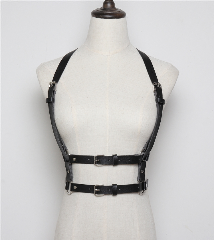 Silver Golden Black Womens Fashion Sexy Body Harness Bondage Body Harness PU Waist   Belts   Faux Leather Ladies Suspenders   Belt   New