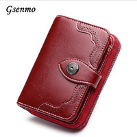 Gsenmo Wallet Women Fashion Purse Female Wallet Leather Multifunction Purse Small Money Bag Hollow Coin Pocket