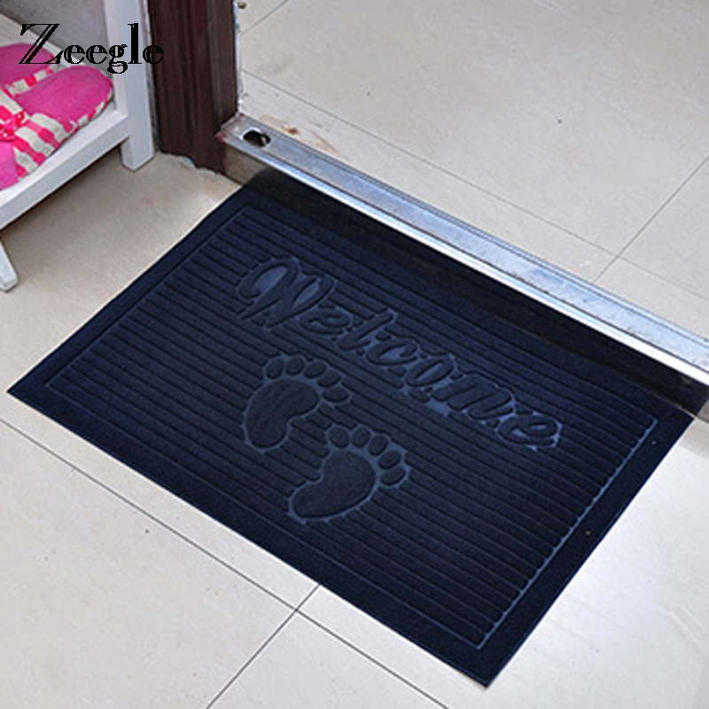 Zeegle Welcome Waterproof Door Mat Absorbent Kitchen Rugs Bedroom Carpets Decorative Stair Mats Home Decor Crafts