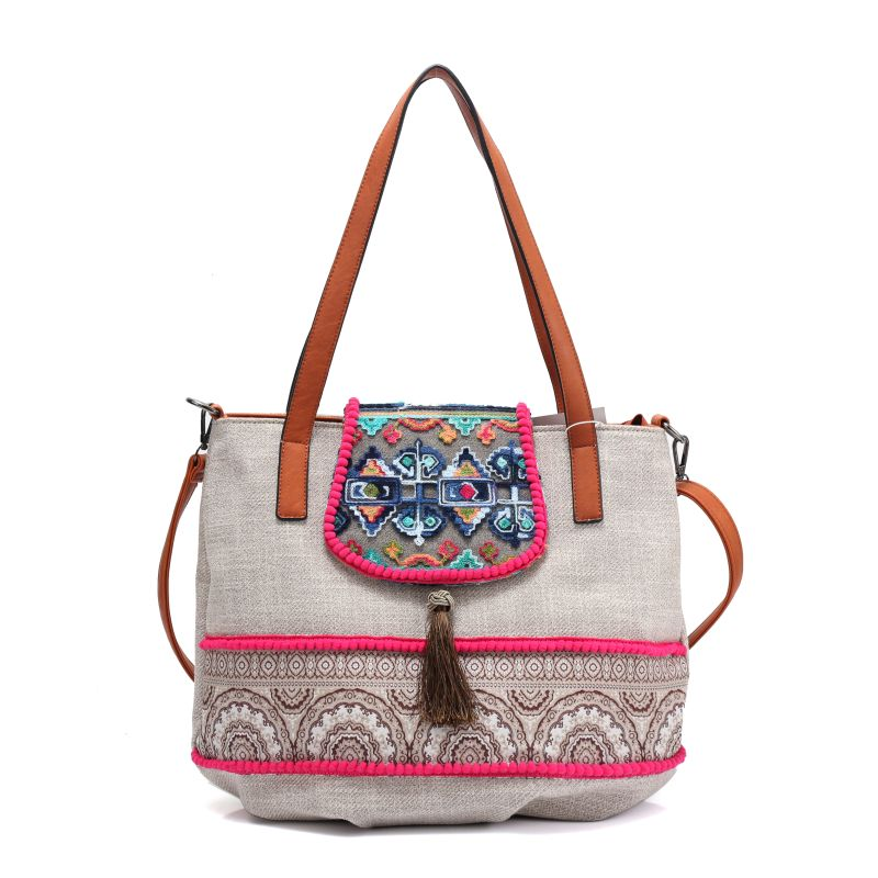 women Bohemian style vintage Fabric straw handbag beading bag shoulder bag Boho Cotton Bag national ethnic bags 2016 summer national ethnic style embroidery bohemia design tassel beads lady s handbag meessenger bohemian shoulder bag page 2