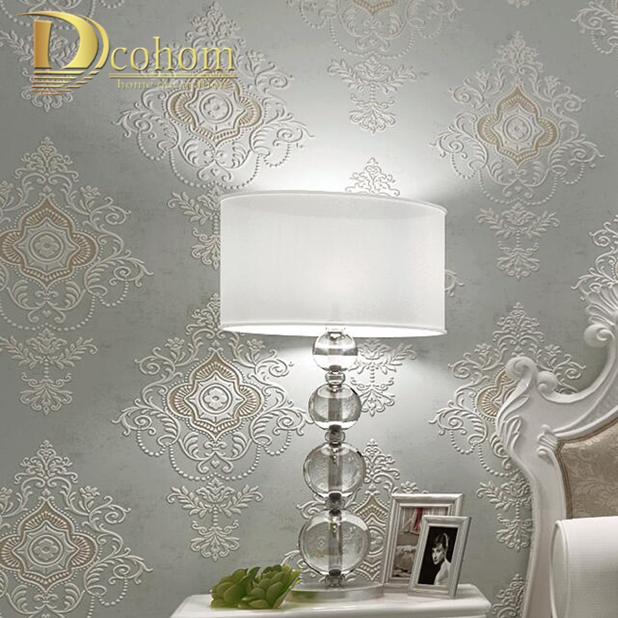 Vintage European Beige Brown Grey 3D Room Wallpaper For Walls Luxury Damask Wall paper Living Room Bedroom Decor Wall covering