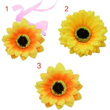 Women Girls Artificial Sunflower Wrist Corsage Hair Clip Gradient Colored Multi Layers Petals Bracelet Adjustable Beach Headwear