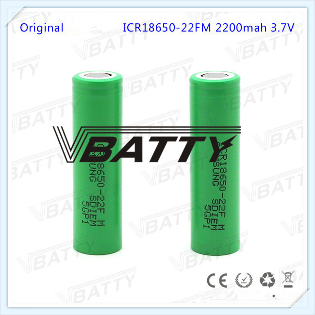 Brand New for Samsung ICR18650-22FM 18650 <font><b>battery</b></font> <font><b>2200mah</b></font> <font><b>3.7v</b></font> li-ion rechargeable <font><b>battery</b></font> for E-cig (2pc) image
