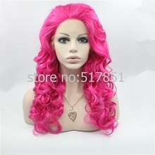 F2 Heat Resistant Hair Wig Cosplay Wig Fashion Synthetic Lace Front Wig Pink Wig