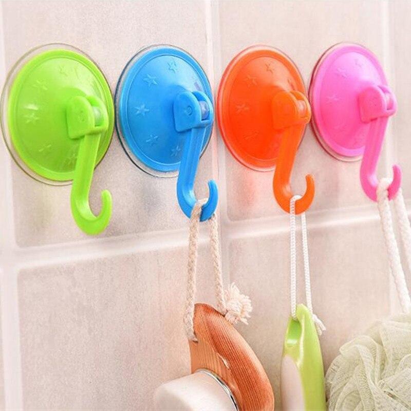 1 Pcs Plastic Vacuum Sucker Hook Kitchen Bathroom Clothes Coat Wall Suction Cup Hanger Color Random