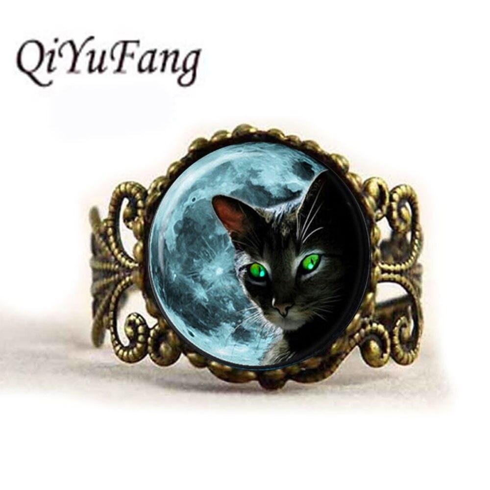 QiYuFang Blue Moon Black Cat Ring Pendant Handmade Jewelry