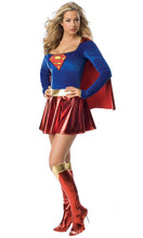 Sexy Slim Superwoman Halloween Cosplay Costume Wonder Woman Long Sleeve Dress with Shawl + Boot Cover Adult Uniforms
