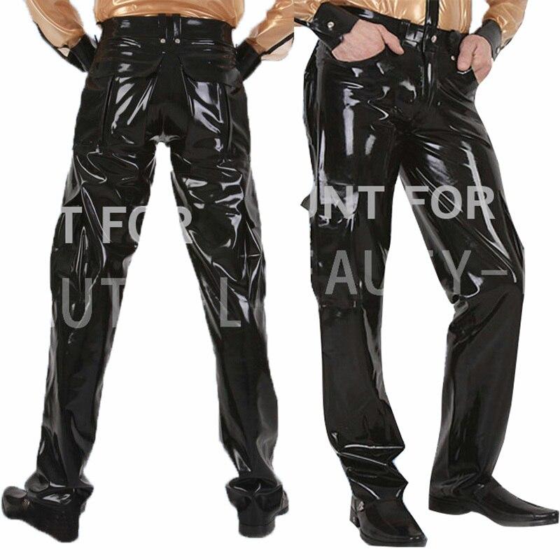 Hommes en Cuir Noir Latex Catsuit Short Pantalon Fermeture Éclair Avec Rivet Pantalon