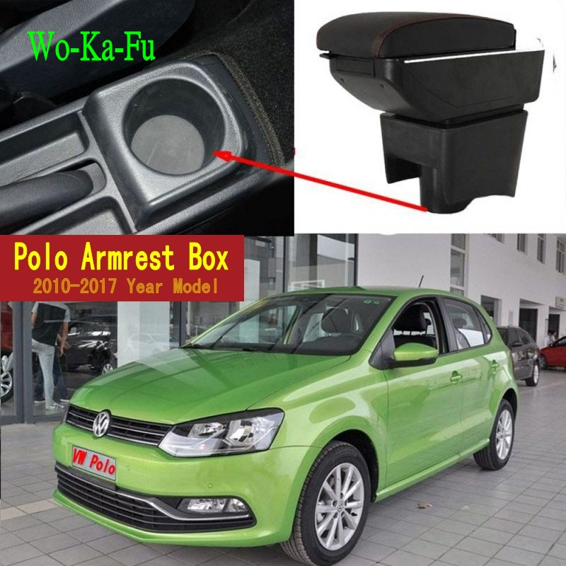 Car Armrest Case For VW Polo 2011-2016 Armrest Central Store Content Storage Box With Cup Holder Ashtray qcbxyyxh for chevrolet sail 3 armrest central store content storage box with cup holder ashtray abs leather accessory 2015 2018