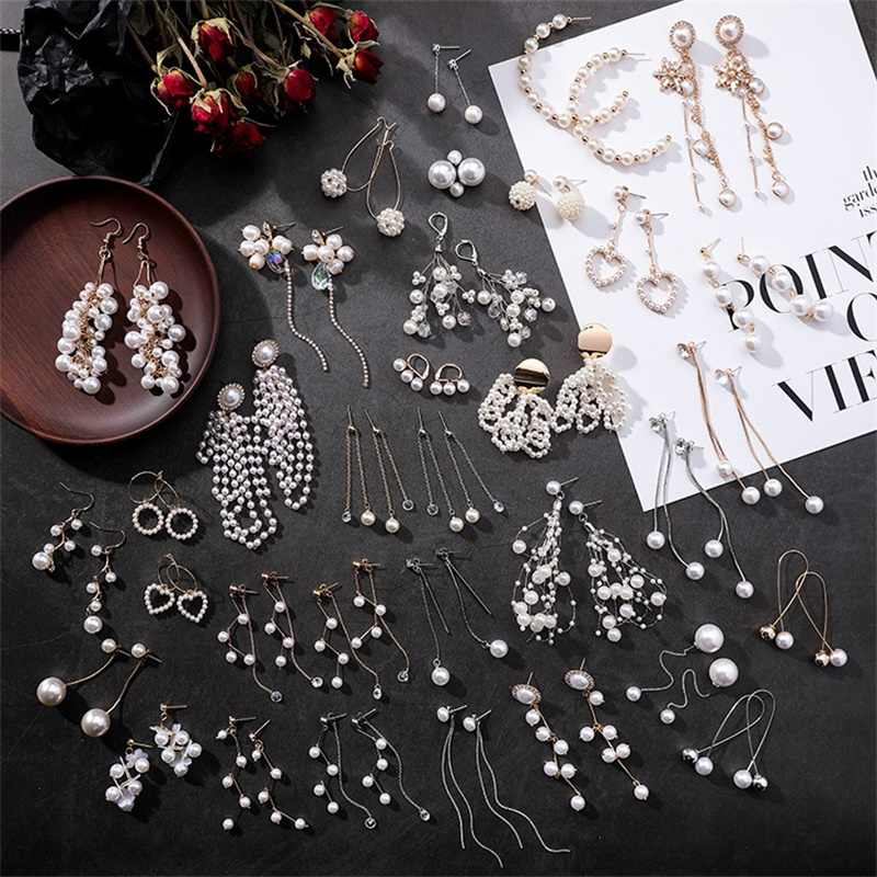 3* New hollow long heart-shaped pendant earrings Sweet simulated pearl geometric tassel earrings Brinco women's fashion jewelry