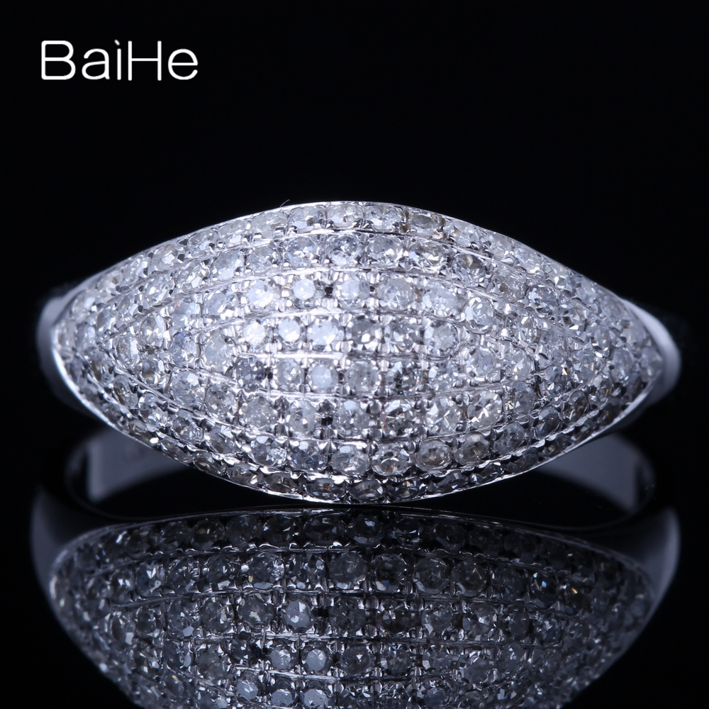 BAIHE Solid 14K White Gold 0.6ct (Total) Certified H/SI Round 100% Genuine Natural Diamonds Wedding Women Trendy Jewelry Ring