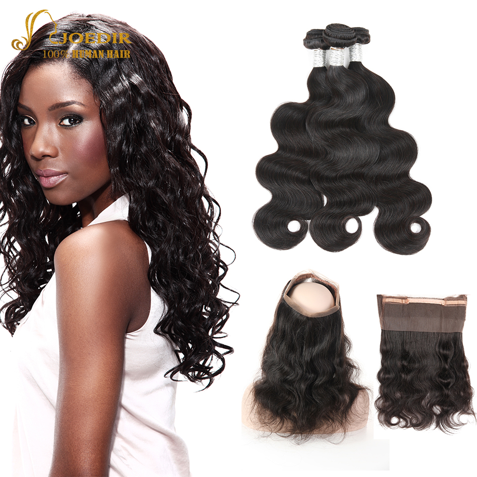 Joedir Pre Plucked 360 Lace Frontal With Bundle Body Wave Peruvian Human Hair Weave 3 Bundles With Frontal Closure Non Remy