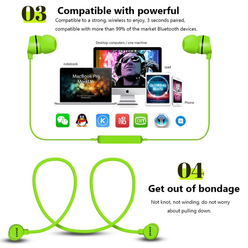 New H3 Bluetooth Earphone Sport Running Wireless Headphone Mini V4.1 Stereo Bass Sweatproof Earbuds Headset For any Phone P15
