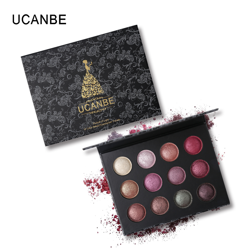 UCANBE Brand 12 Colors Baked Eyeshadow Palette Makeup Shimmer Metallic Smoky Eye Shadow Powder Pigmented Glitter Eyes Cosmetics