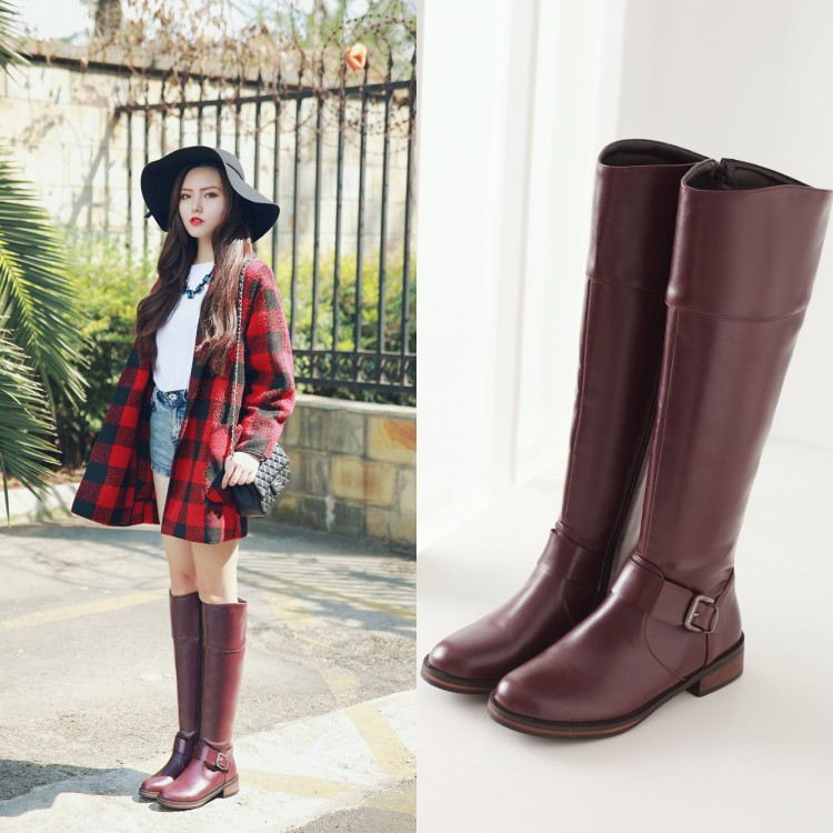 2015 femmes bottes d'hiver britannique ceinture boucle bottes petits yards 32 33 bas talon côté zipper chaud botte grande taille 42 43 BIKER bottes