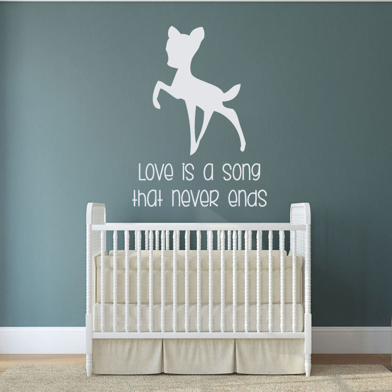 Cartoon Animal Wall Decal Quotes Love is a Song For Kids Rooms Decoration Art Deer Vinyl Wall Stickers Bedroom W411 in Wall Stickers from Home Garden