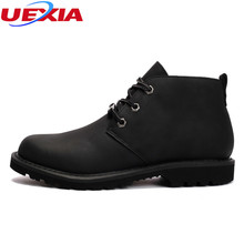 UEXIA Men Boots Crazy Leather Martin Men Autumn Work Winter Shoes Ankle Boots Western Winter Fashion