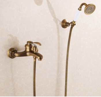 High Quality new arrival Antique Brass Bath & Shower Faucet Set+bath tub Faucet Mixer+single handle Shower Wall Mounted free shipping wall mounted bath shower faucet bath tub taps bronze antique bath mixer flg40008a