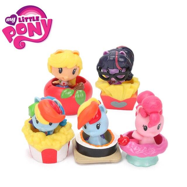 US $13 31 20% OFF|5pcs My Little Pony Toys Cutie Mark Crew Mini Pony Dolls  Friendship is Magic Rainbow Dash Twilight Sparkle Figure Christmas Gift-in