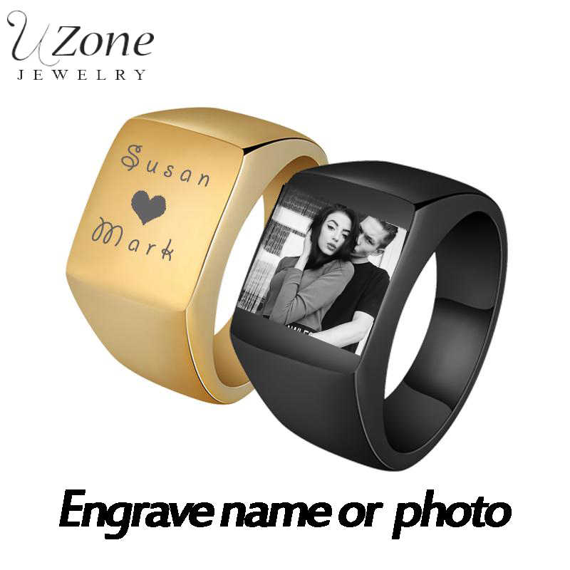 Personalized Engrave Photo Name Ring Stainless Steel Polished Custom Mens Signet Family Photo Ring For Men Wedding Rings